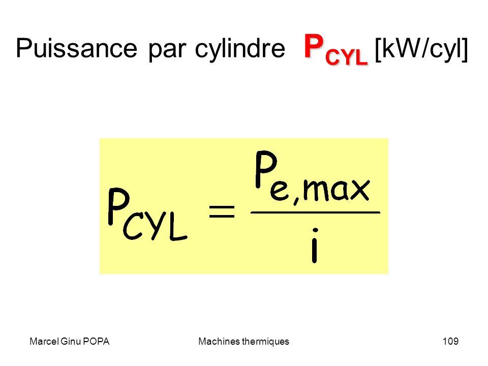 Puissance par cylindre PCYL [kW/cyl]